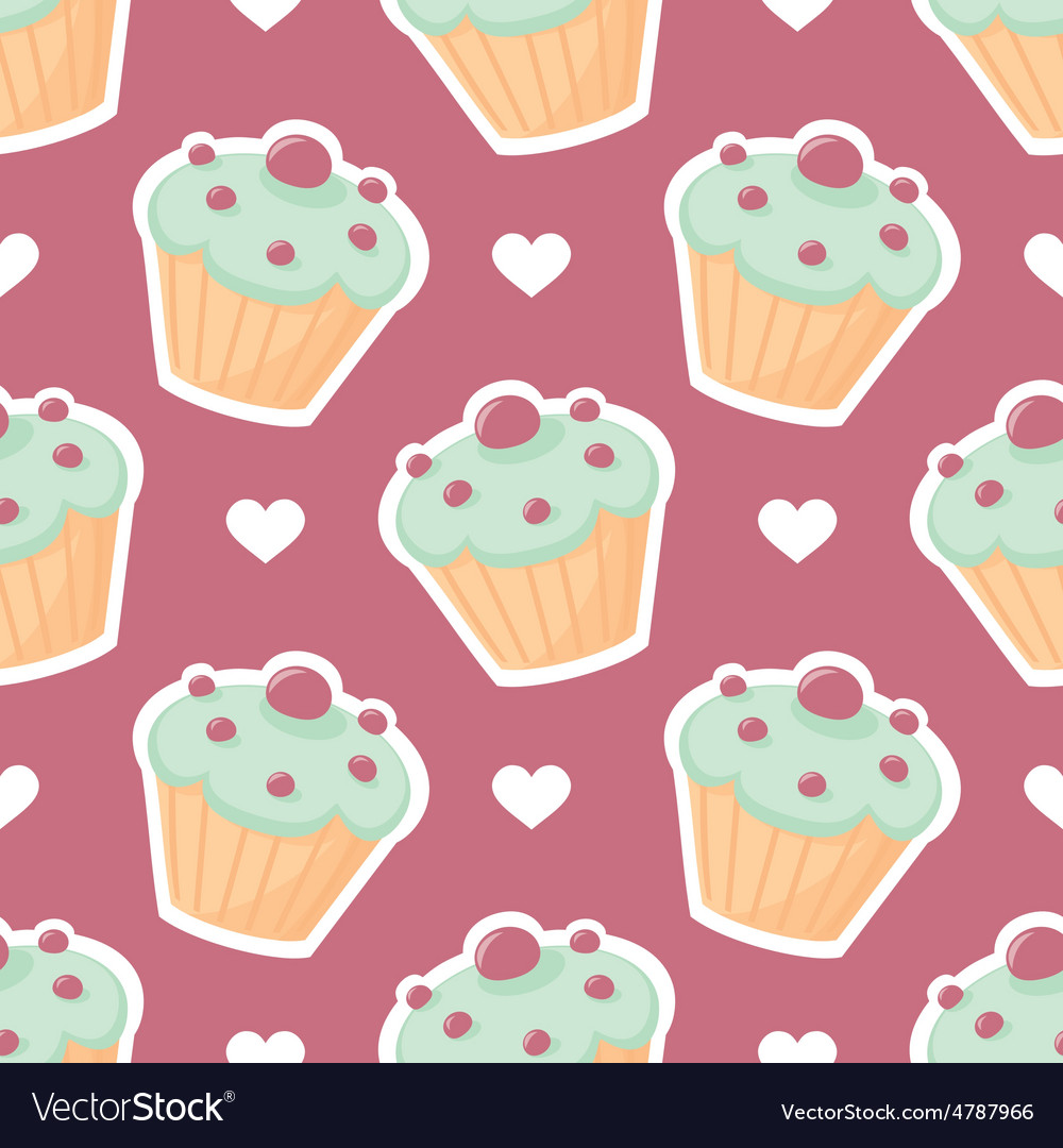 Tile pattern with cupcake and white hearts vector | Price: 1 Credit (USD $1)