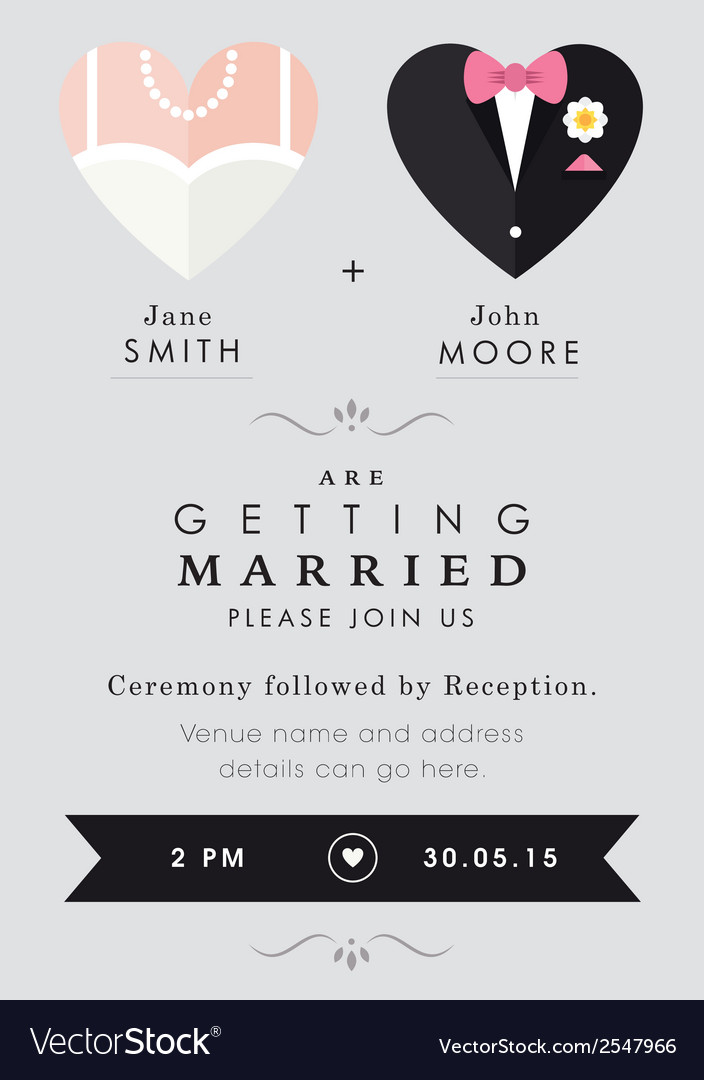 Wedding invitation heart theme vector | Price: 1 Credit (USD $1)
