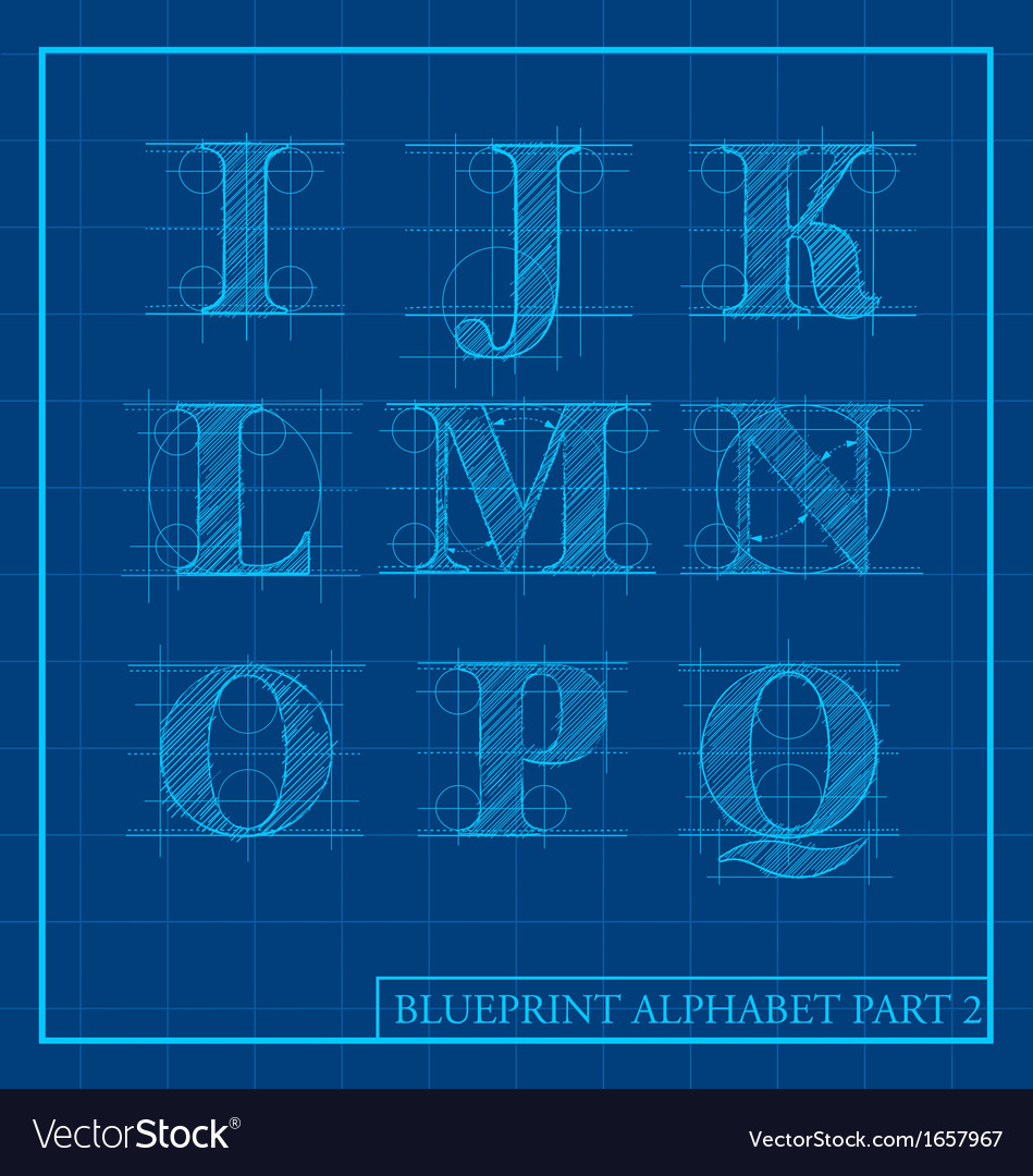 Blueprint style alphabet set 2 vector | Price: 1 Credit (USD $1)