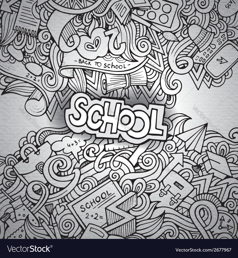 Cartoon doodles hand drawn school vector | Price: 1 Credit (USD $1)