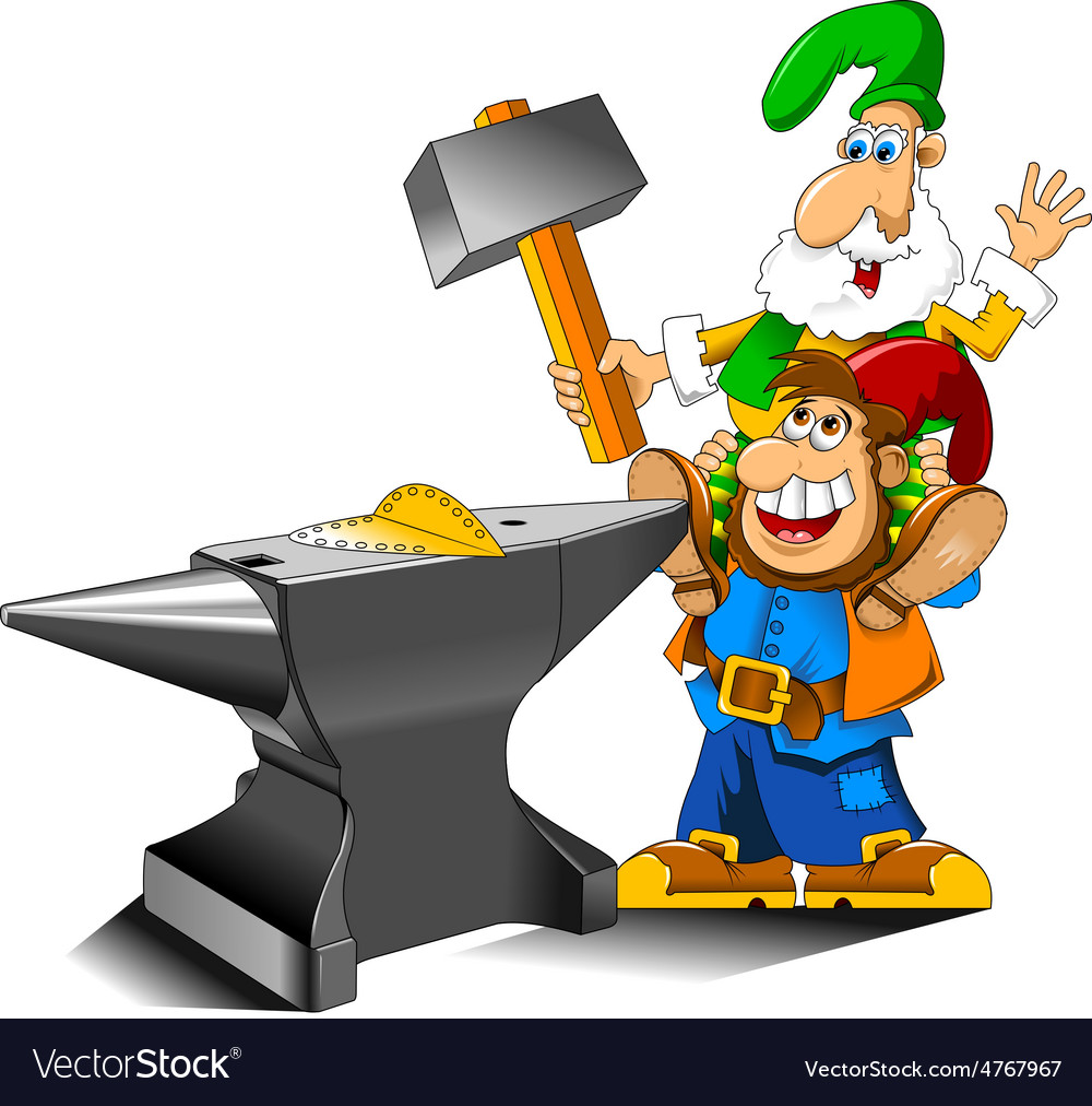 Cartoon gnome with anvil vector   Price: 1 Credit (USD $1)