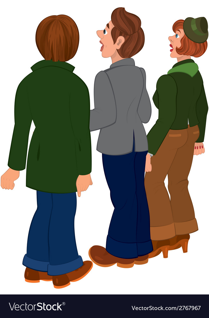 Cartoon people standing and looking on something vector | Price: 1 Credit (USD $1)