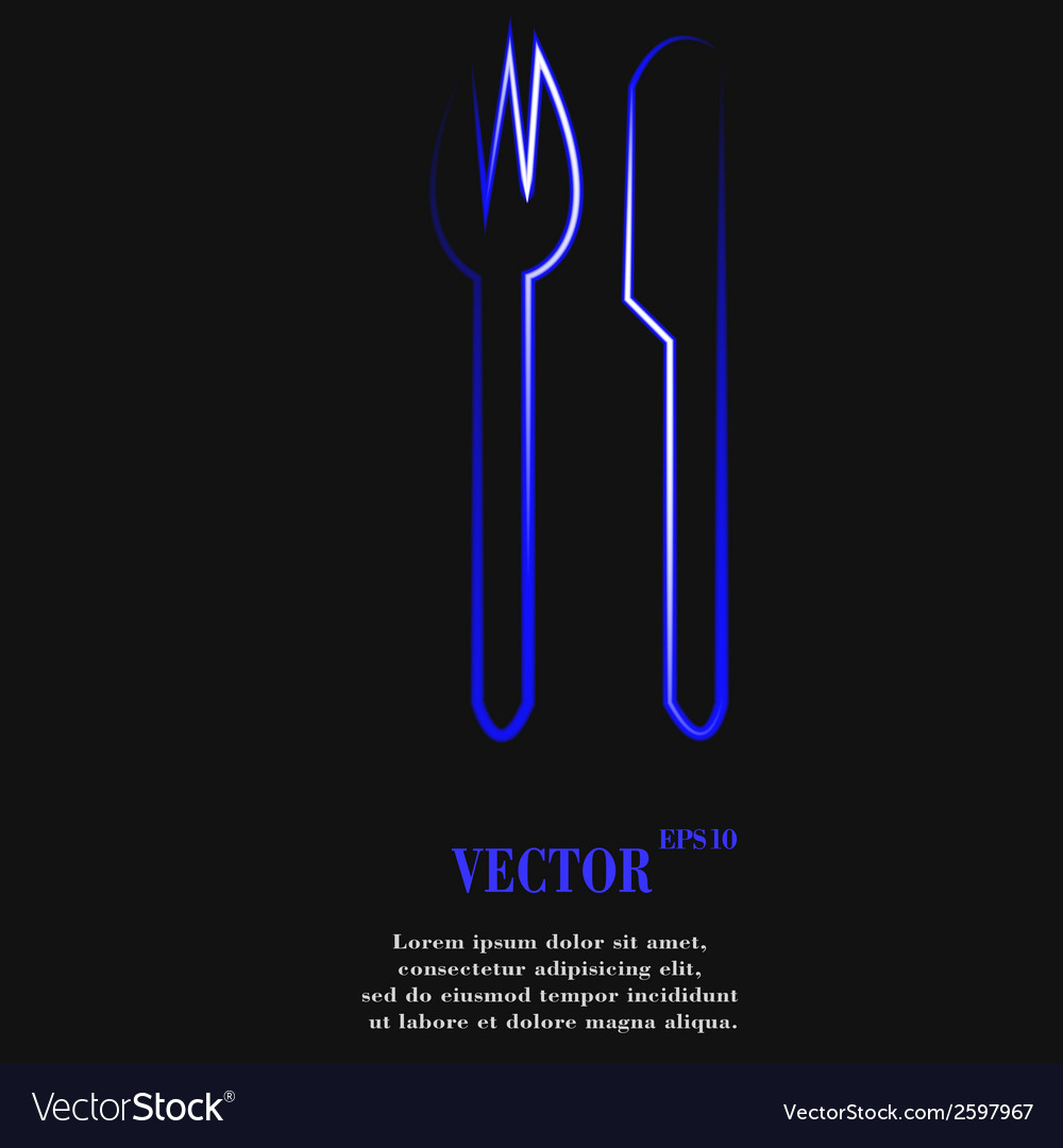 Cutlery knife fork flat modern web button and vector | Price: 1 Credit (USD $1)