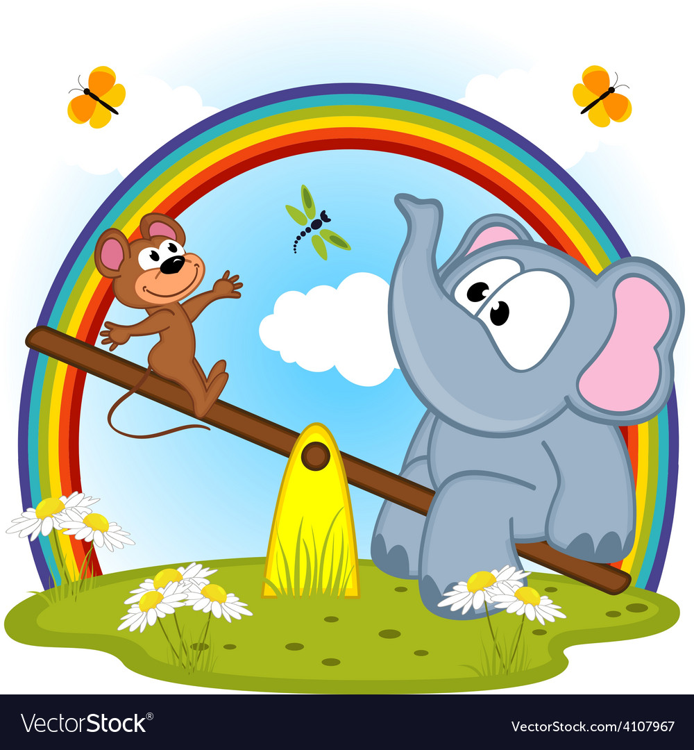 Elephant and mouse riding on seesaw vector | Price: 3 Credit (USD $3)