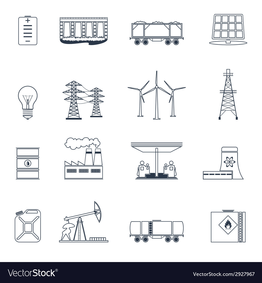 Energy icons outline set vector | Price: 1 Credit (USD $1)