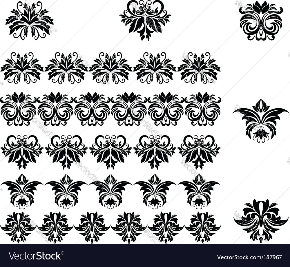 Flower patterns and borders vector | Price: 1 Credit (USD $1)