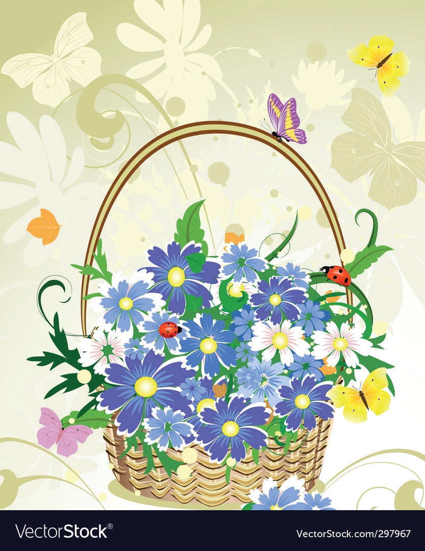Flowers basket vector | Price: 1 Credit (USD $1)