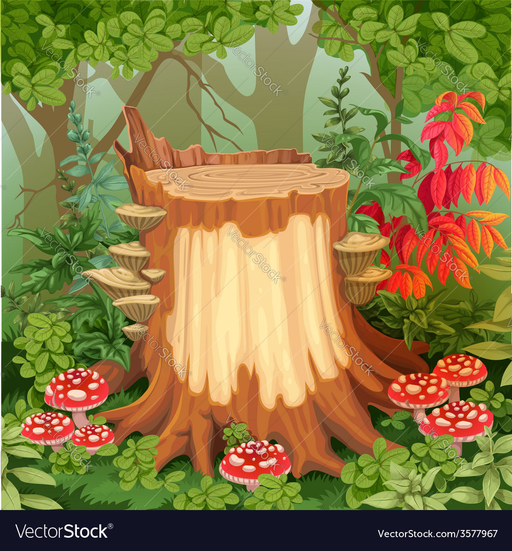 Forest glade with stump surrounded by toadstools vector | Price: 3 Credit (USD $3)