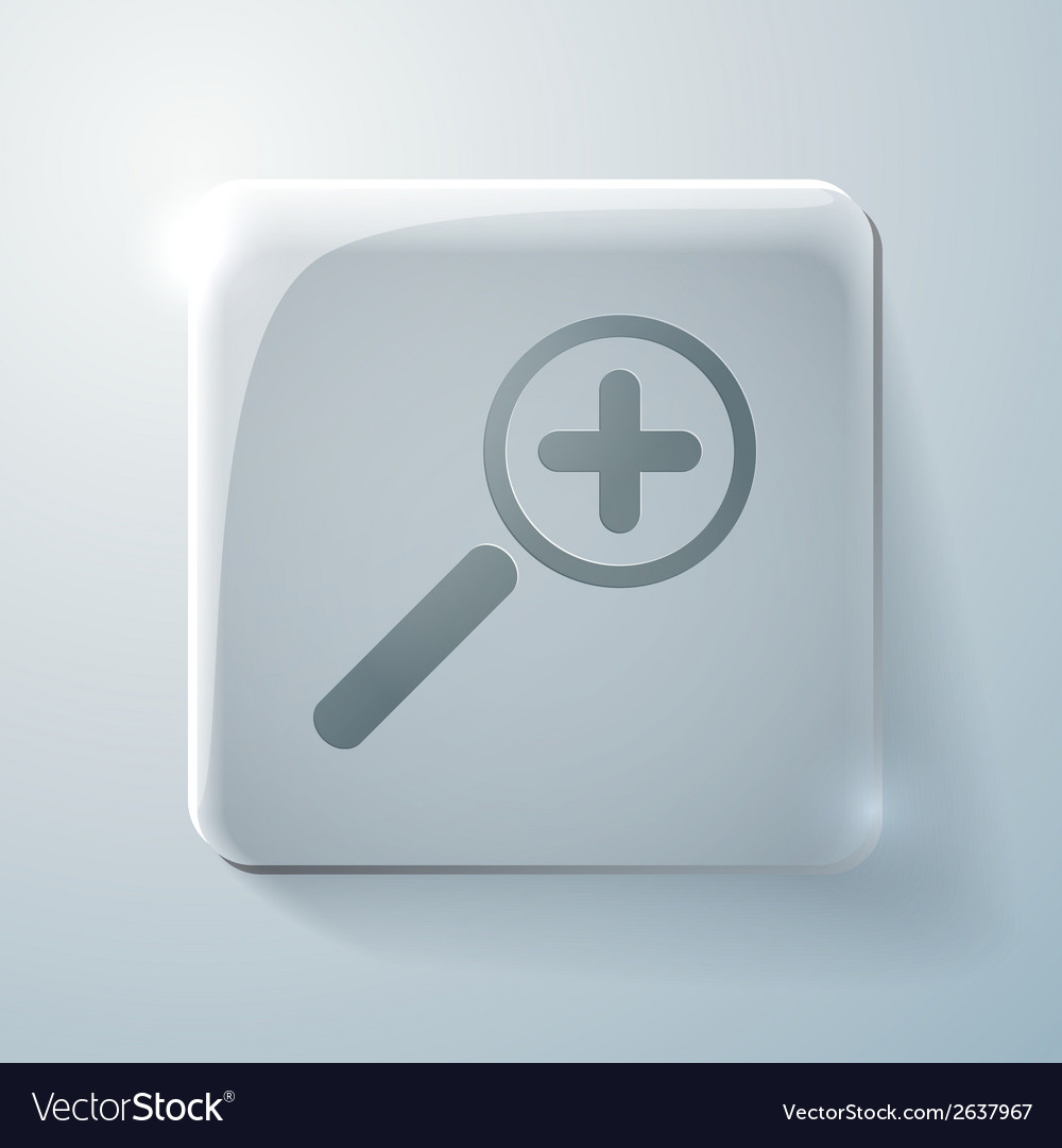 Glass icon with highlights magnifier increase vector | Price: 1 Credit (USD $1)