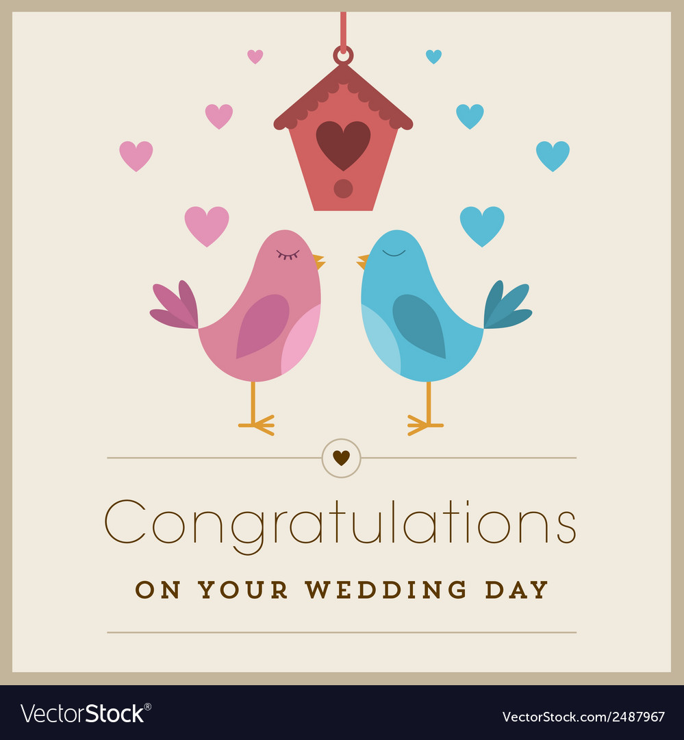 Love birds wedding card vector | Price: 1 Credit (USD $1)