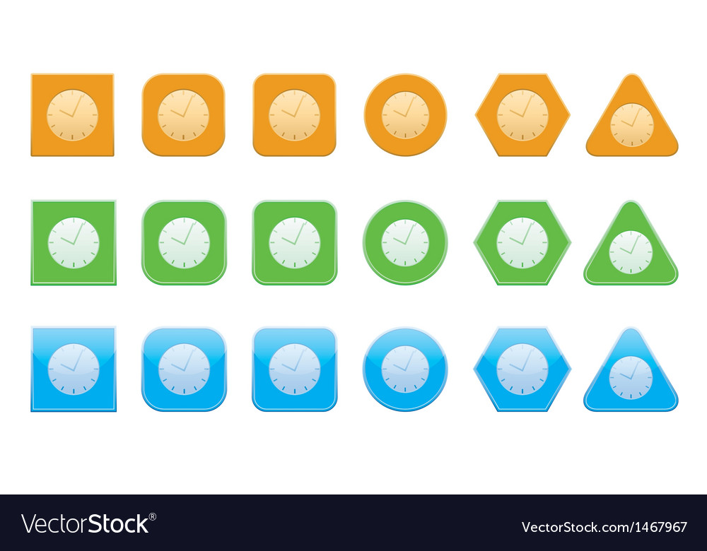 Set of clock icons vector | Price: 1 Credit (USD $1)