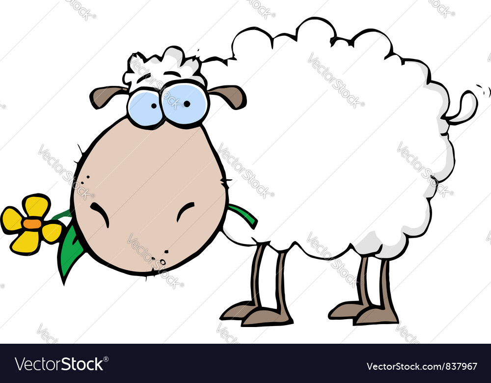 Sheep carrying a flower in its mouth vector | Price: 1 Credit (USD $1)