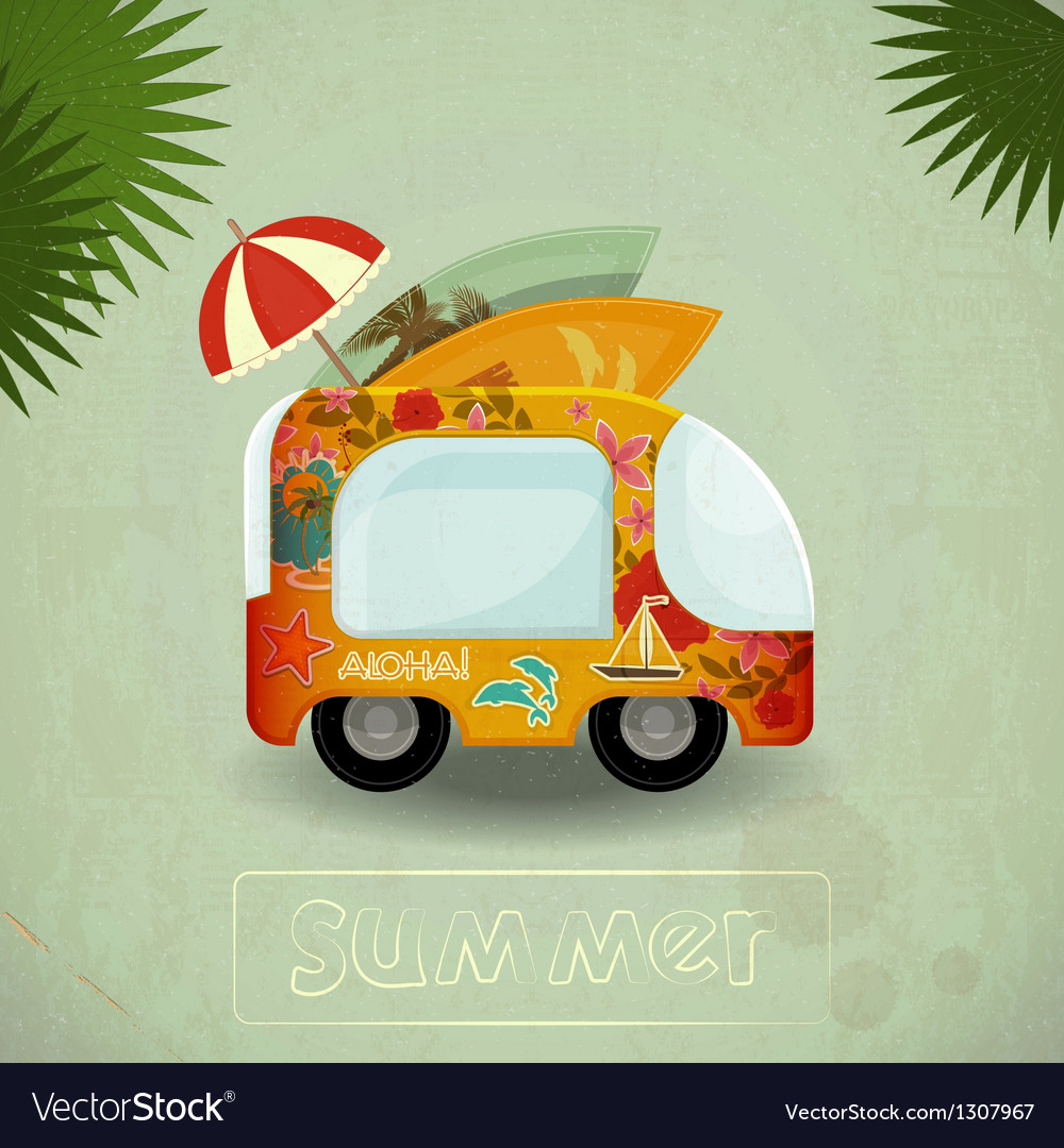 Summer travel bus in retro style vector | Price: 1 Credit (USD $1)