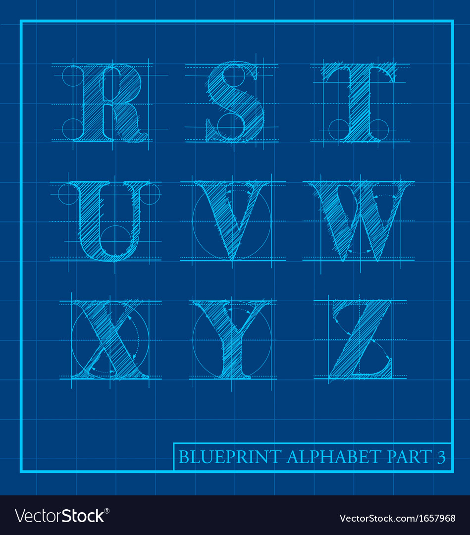 Blueprint style alphabet set 3 vector | Price: 1 Credit (USD $1)