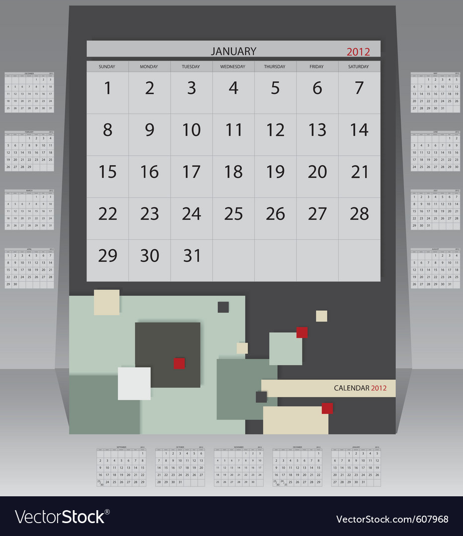 Calendar 2012 year vector | Price: 1 Credit (USD $1)