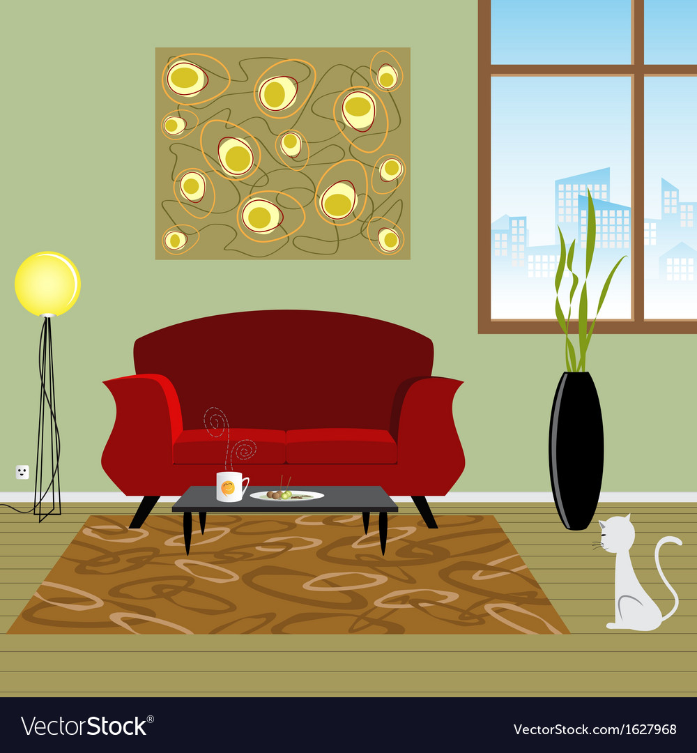 Interior living room vector | Price: 1 Credit (USD $1)