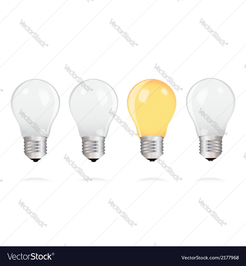 Light bulbs with one bright light bulb vector | Price: 1 Credit (USD $1)