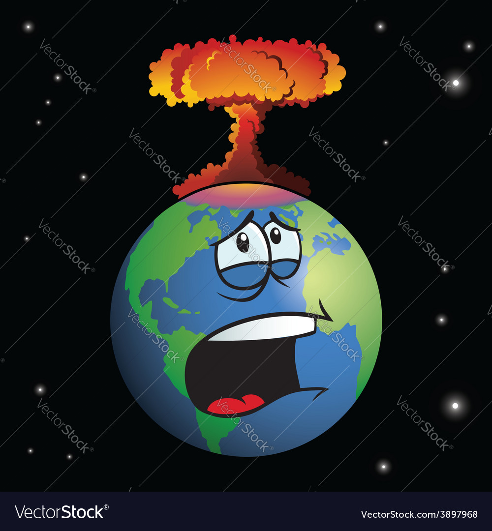 Nuclear weapon exploding on cartoon earth vector | Price: 1 Credit (USD $1)