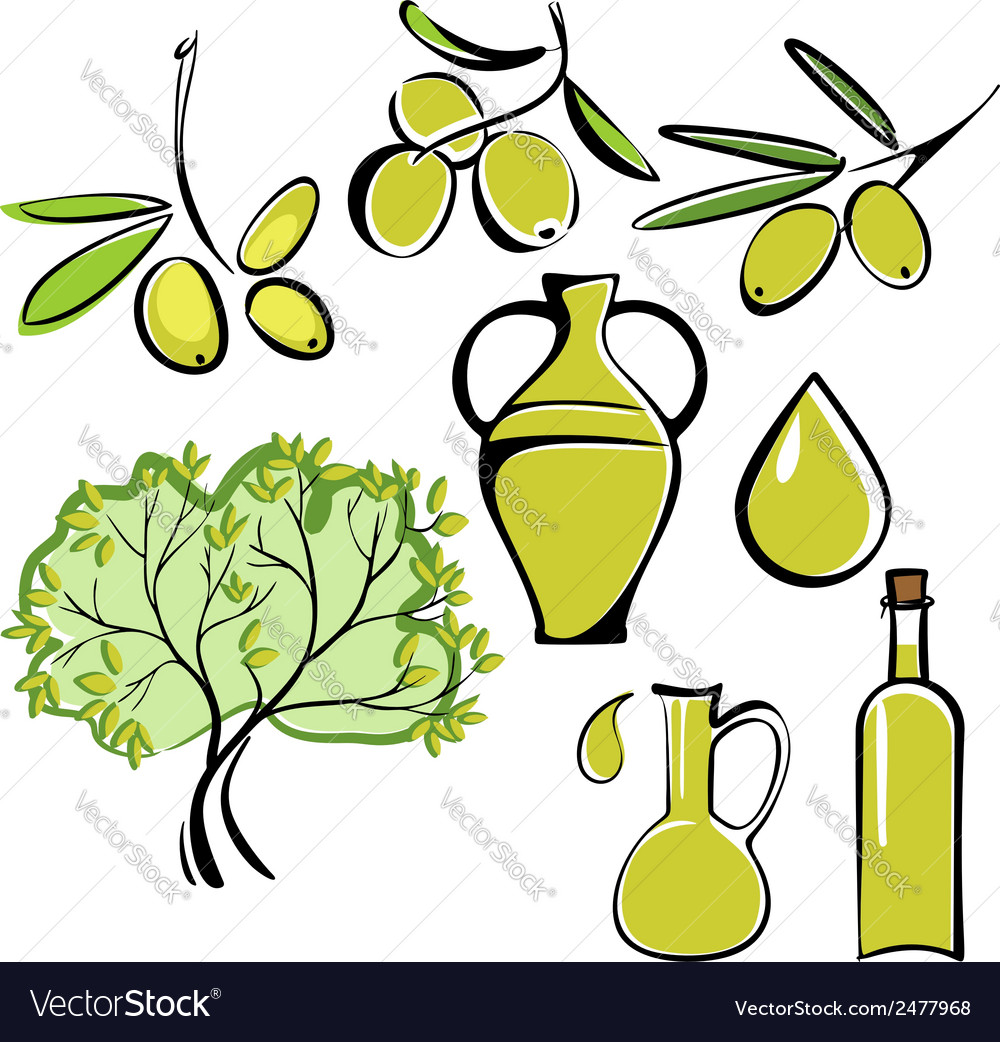 Olive and olive oil icon set vector | Price: 1 Credit (USD $1)