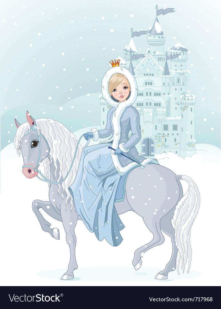 Princess riding horse vector | Price: 5 Credit (USD $5)