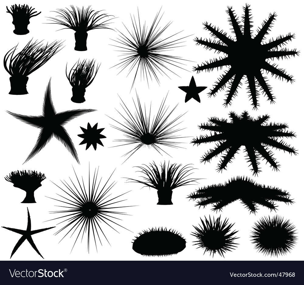 Sealife silhouettes vector | Price: 1 Credit (USD $1)