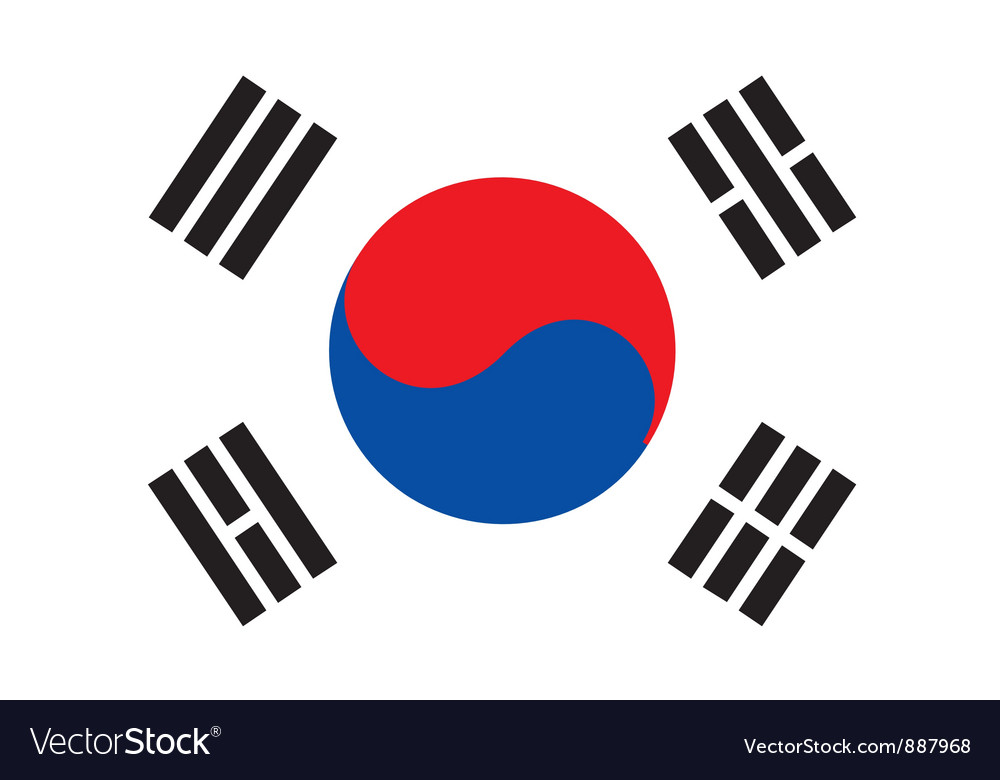 South korea flag vector | Price: 1 Credit (USD $1)