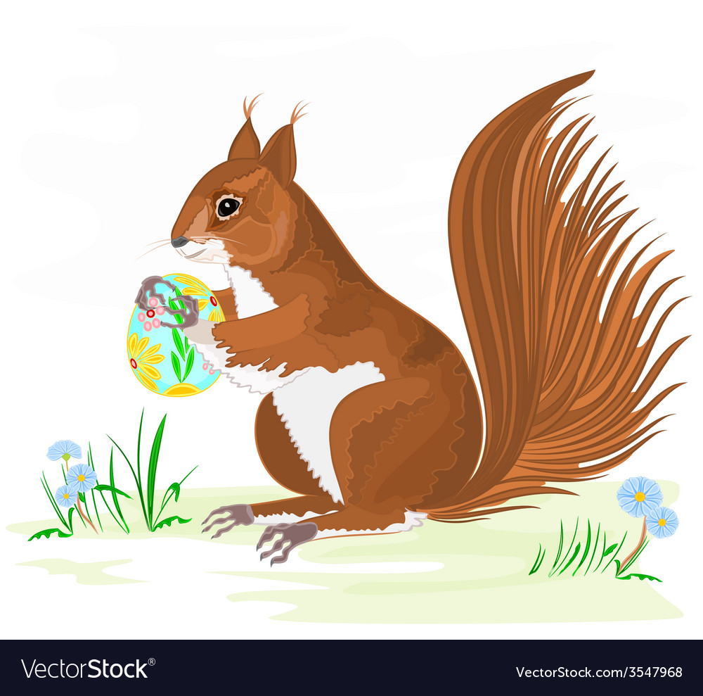 Squirrel and easter eggs vector | Price: 1 Credit (USD $1)