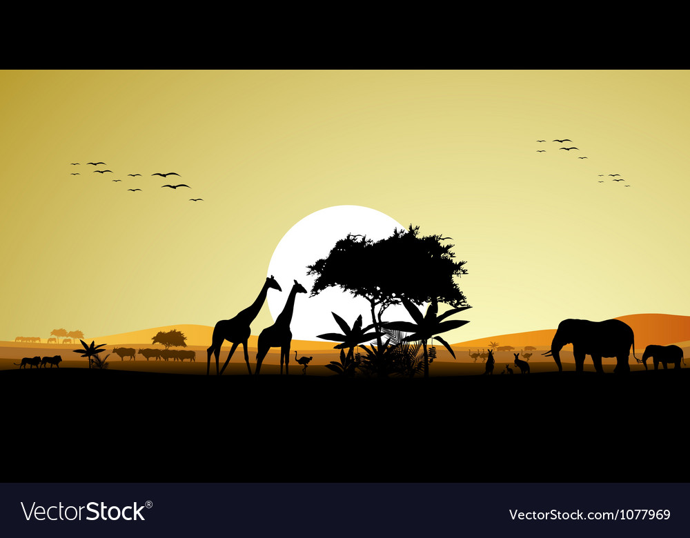 Beauty silhouette of safari animal vector | Price: 1 Credit (USD $1)