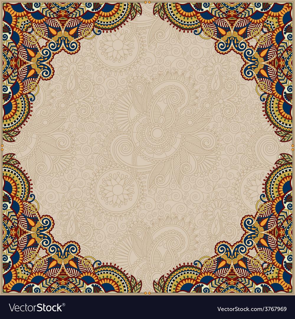 Beige colour floral vintage frame vector | Price: 1 Credit (USD $1)