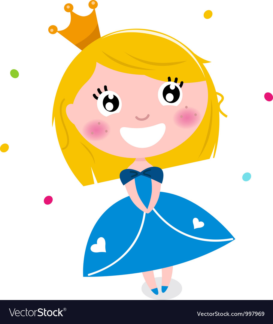 Cute little cartoon princess isolated on white vector | Price: 1 Credit (USD $1)