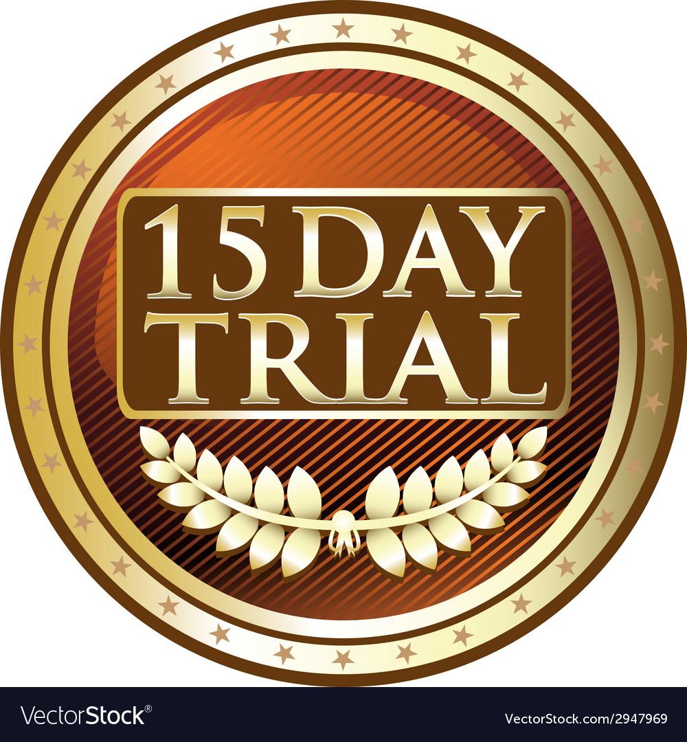 Fifteen day trial gold label vector | Price: 1 Credit (USD $1)