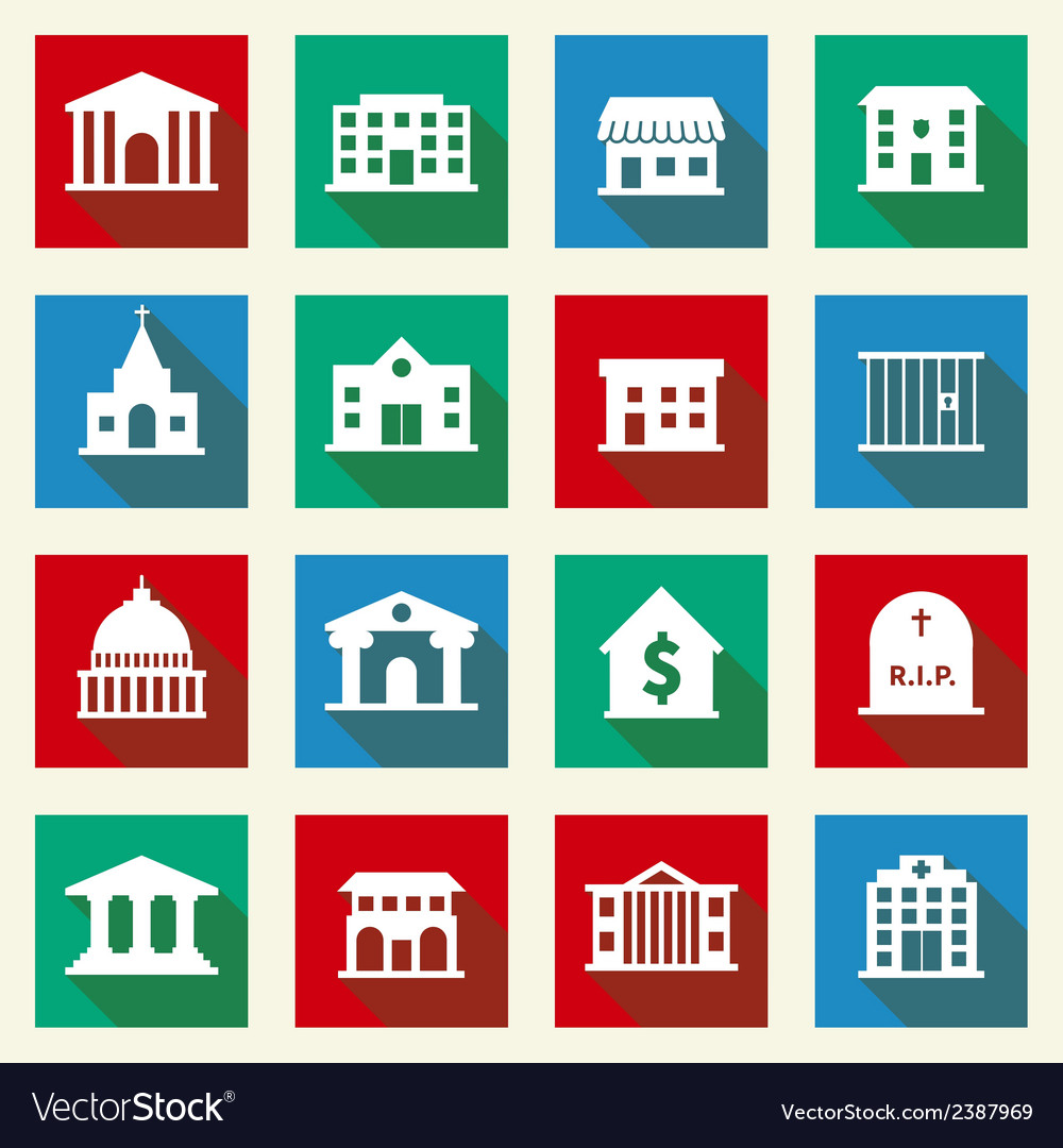 Government buildings icons vector   Price: 1 Credit (USD $1)