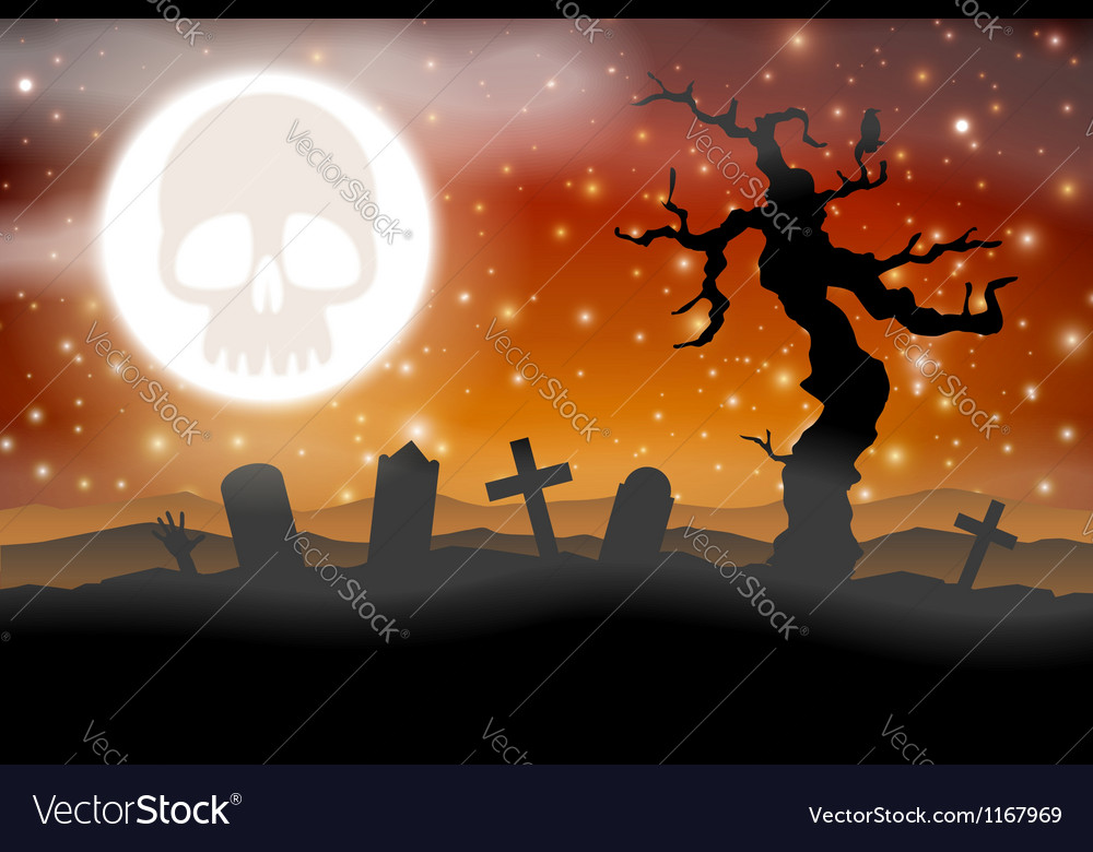 Halloween graveyard and moon with skull vector
