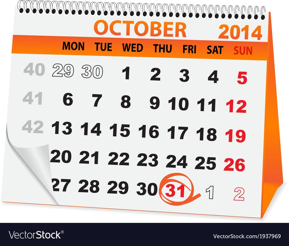 Holiday calendar halloween vector   Price: 1 Credit (USD $1)
