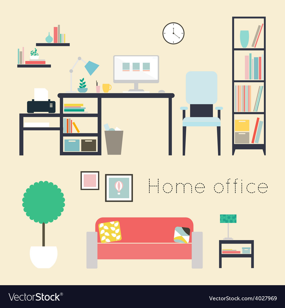 Home office furniture and accessories vector | Price: 1 Credit (USD $1)