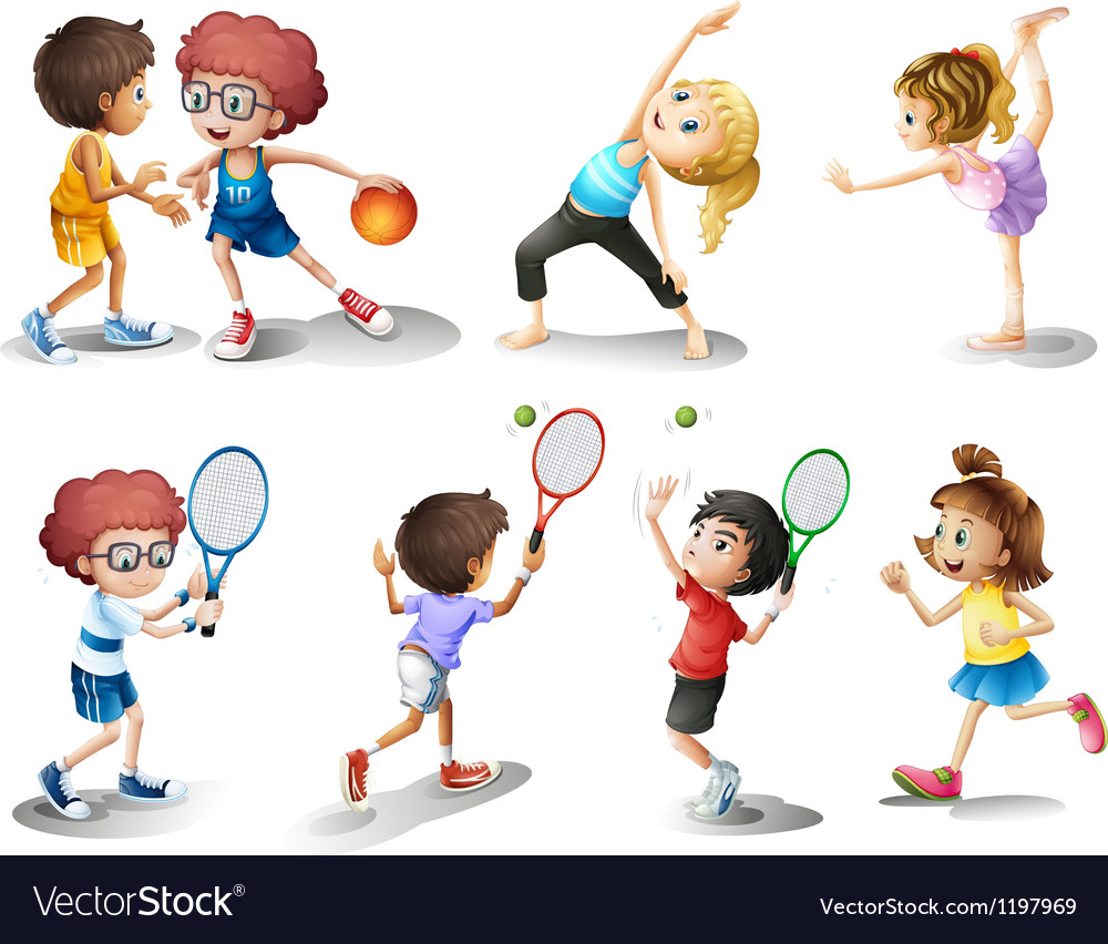 Kids exercising and playing different sports vector | Price: 1 Credit (USD $1)