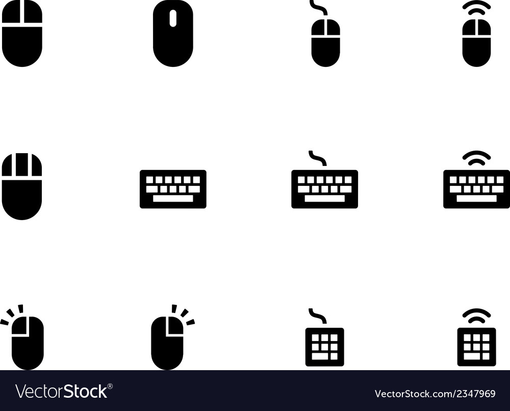 Mouse and keyboard icons on white background vector | Price: 1 Credit (USD $1)