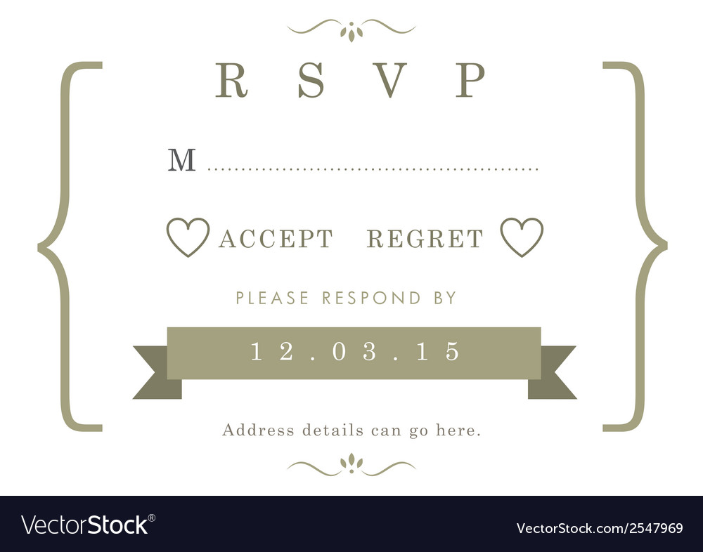 Rsvp wedding card gold ribbon theme vector | Price: 1 Credit (USD $1)