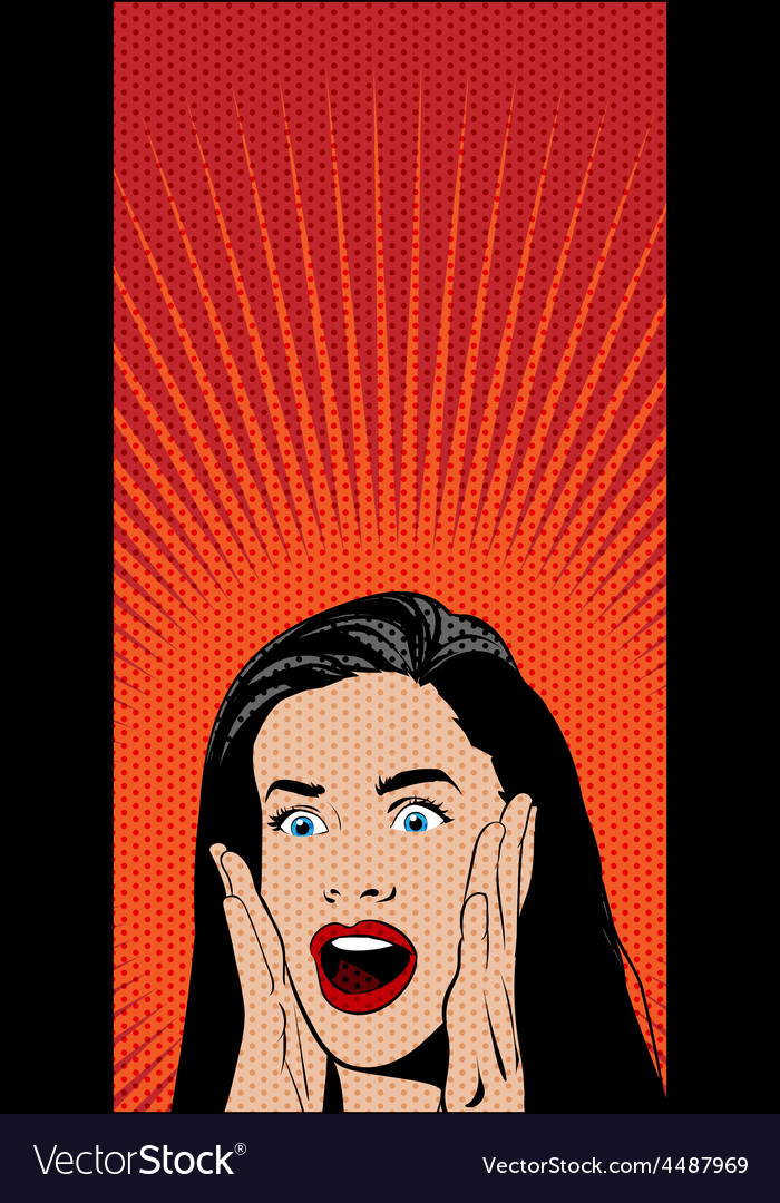 Shocked pop art woman vector