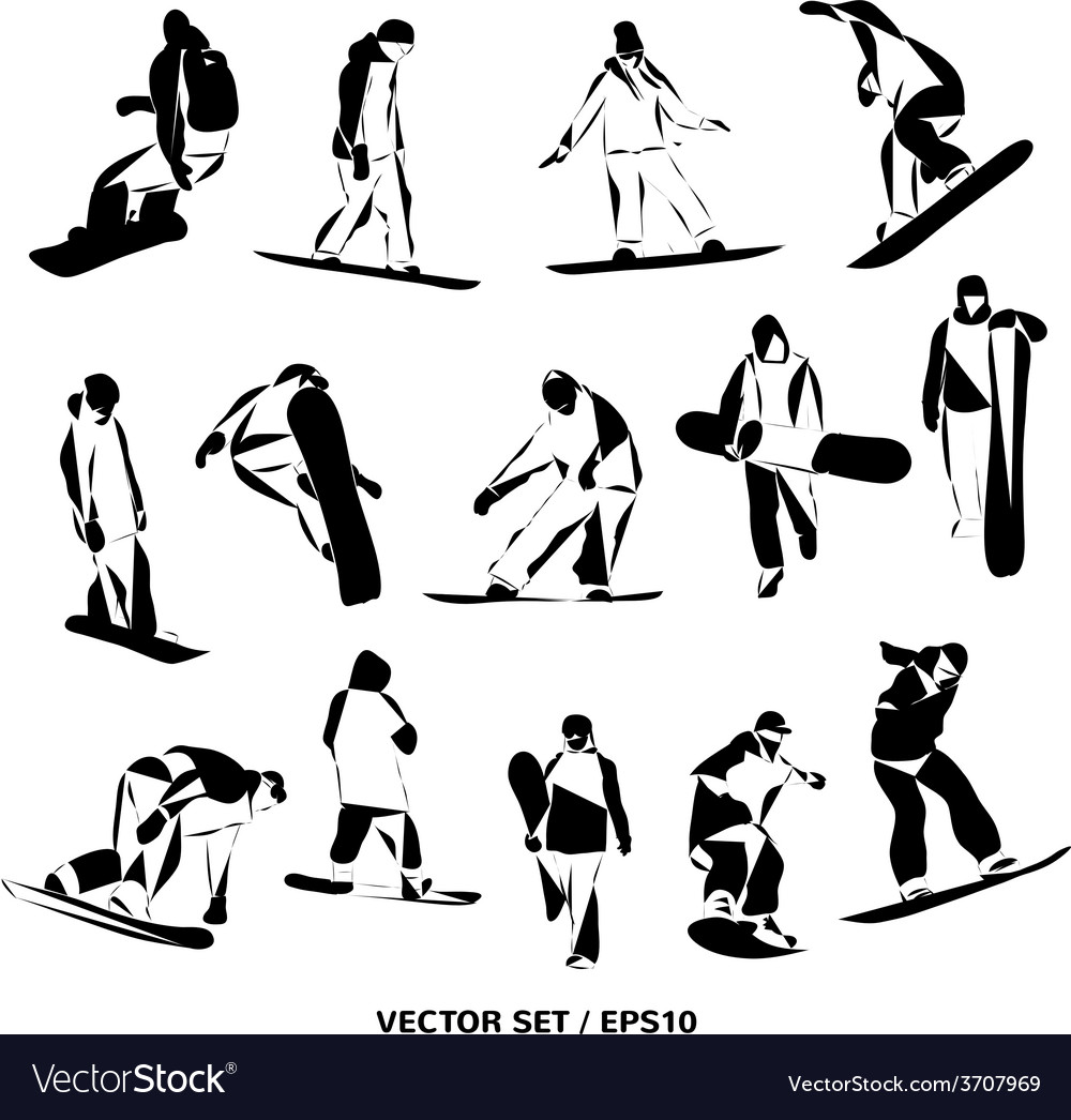 Silhouettes snowboarders vector | Price: 1 Credit (USD $1)