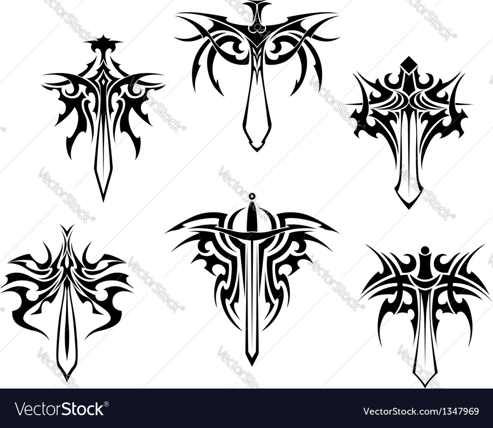 Tattoo with swords and daggers vector