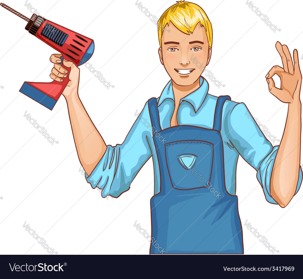 Young handsome man with drill isolated eps10 vector | Price: 1 Credit (USD $1)