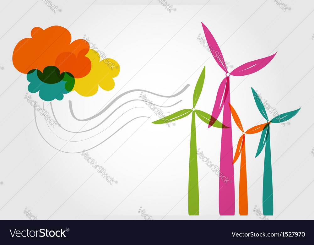 Colorful wind mills and clouds vector | Price: 1 Credit (USD $1)