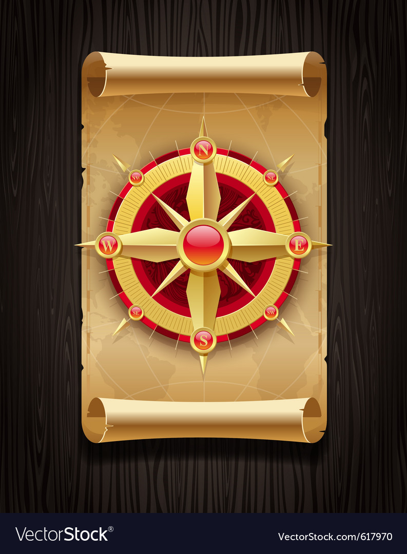 Compass rose and vintage map vector | Price: 1 Credit (USD $1)