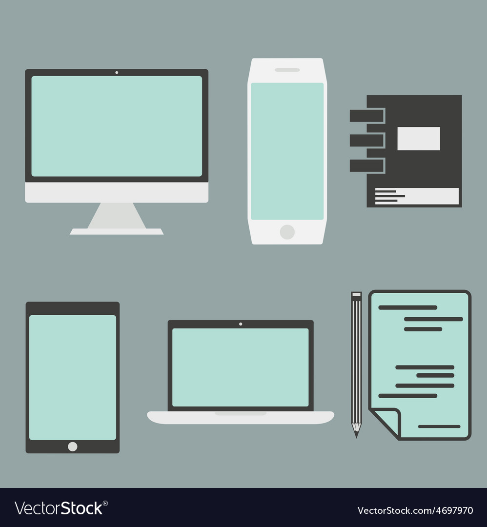 Flat design office elements and computer tablet vector | Price: 1 Credit (USD $1)