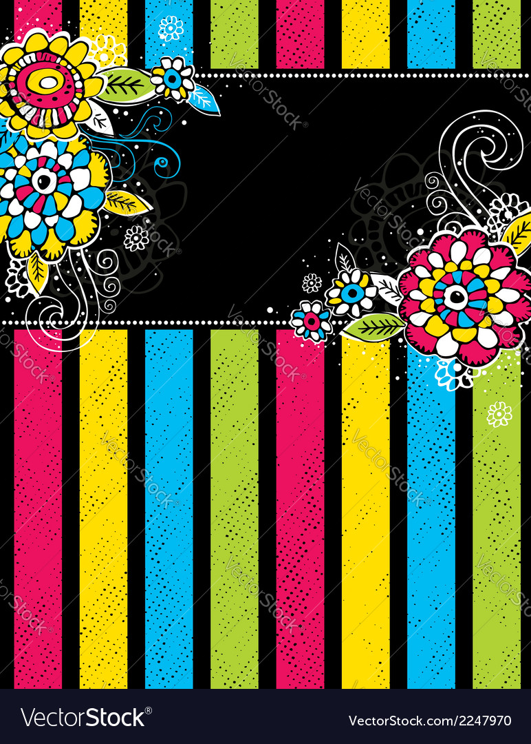 Hand draw flowers on color stripe on black backgro vector | Price: 1 Credit (USD $1)