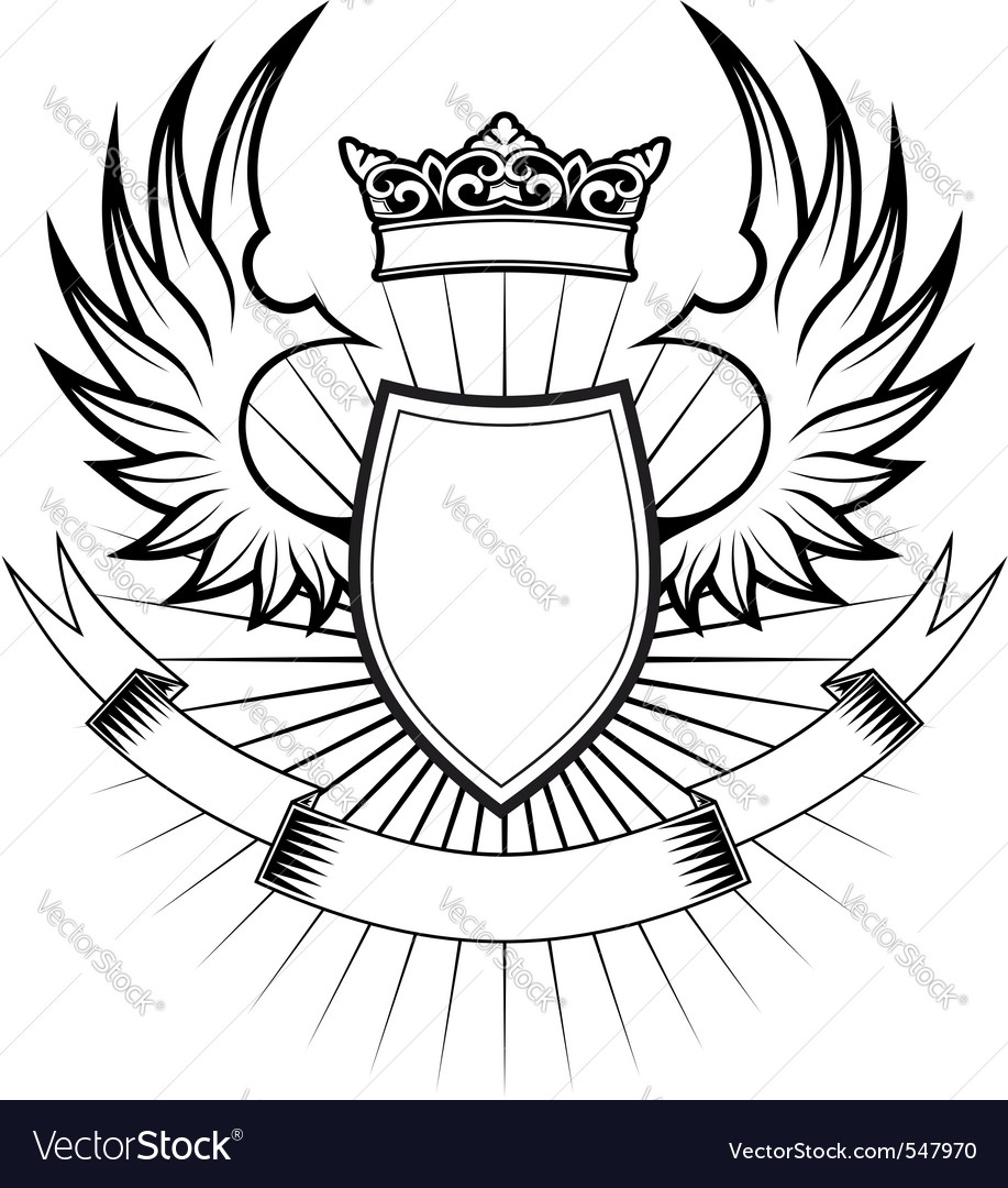 Heraldry elements with wings vector