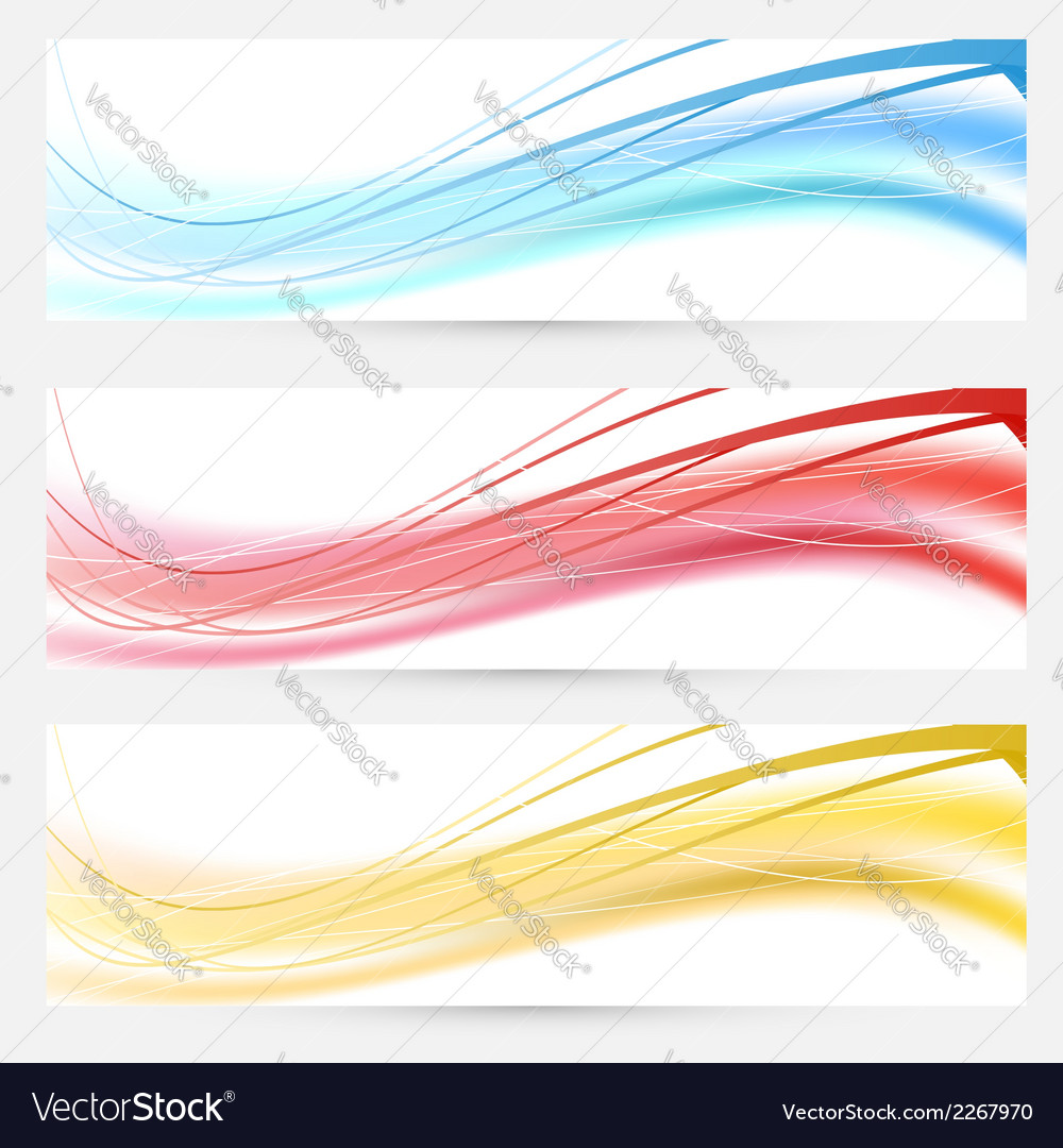 Set of bright abstract wave lines cards vector | Price: 1 Credit (USD $1)