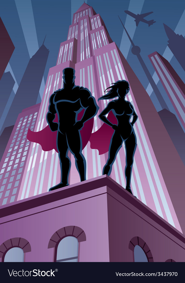Superhero couple 5 vector | Price: 3 Credit (USD $3)