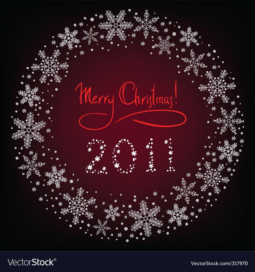 Winter christmas wreath vector